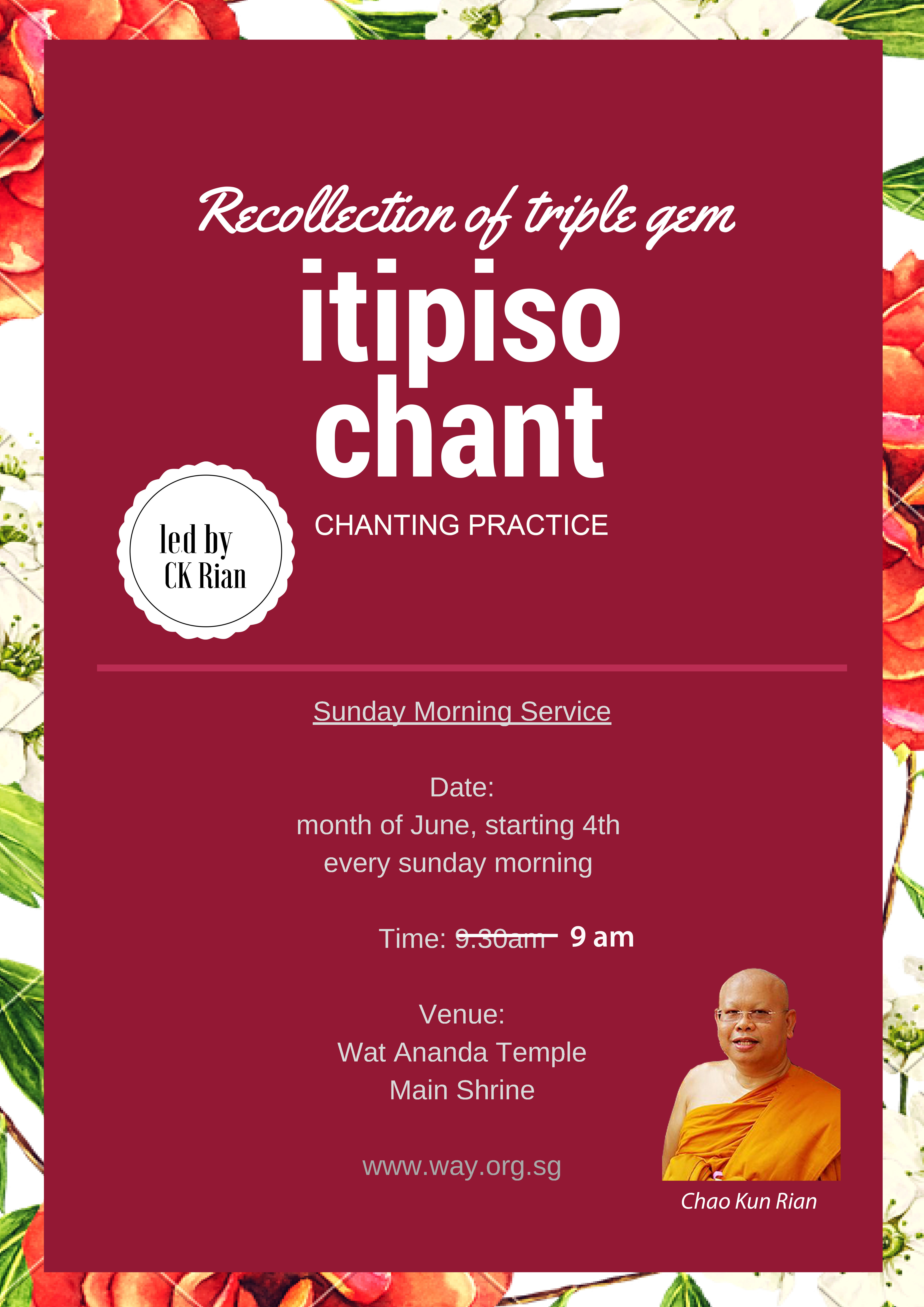 Recollection of Triple Gem ~ Itipiso Chant ~chanting practice